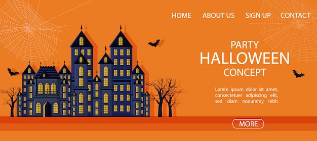 Halloween party site banner with big castle and spider web banner