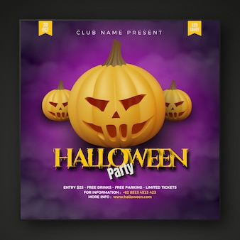 Halloween party social media post with pumpkins on dark cloud background