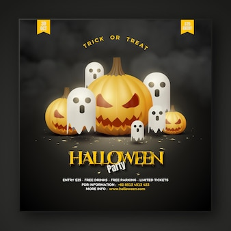 Halloween party social media post with white ghosts and 3d pumpkins