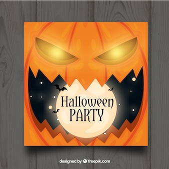 Halloween party template with pumpkin Free Vector
