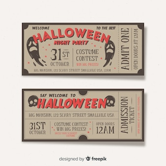 Halloween party ticket collection with vintage design