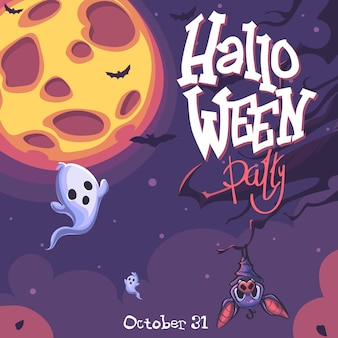 Хэллоуин вектор фон с призрак, луна, летучая мышь