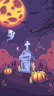Хэллоуин партии векторный фон с тыквой, надгробие, призрак, луна, свеча летучая мышь дерево