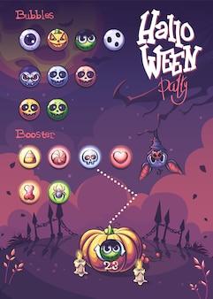 Хэллоуин векторные пузыри и ракеты-носители с тыквой, свечой, летучей мышью, кладбищенским забором