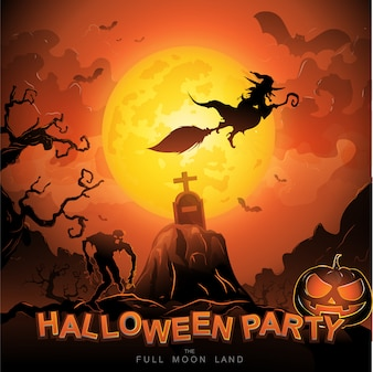 Halloween Party Vector Concept Full Moon Land