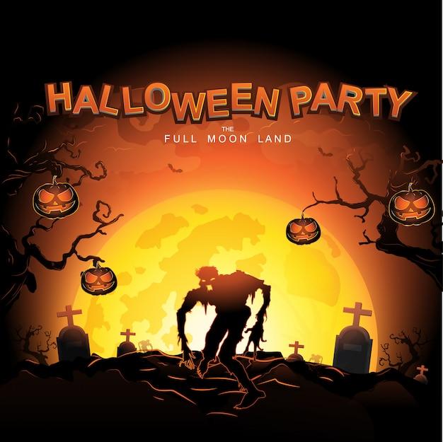 Halloween party vector concept full moon land