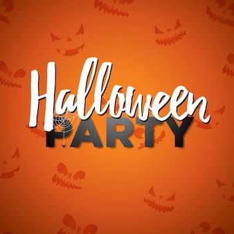 オレンジ色の背景に書道を書くハロウィンパーティーのベクトル図。パーティーの招待状、グリーティングカード、バナー、ポスターのための抽象的な怖い顔の休日のデザイン。