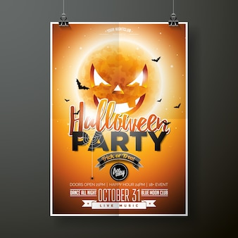 Halloween party vector illustration with moon on orange background. holiday design with spiders and bats for party invitation, greeting card, banner, poster.