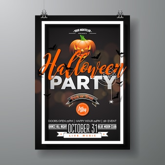 Halloween party vector illustration with pumpkinm on black background. holiday design with spiders and bats for party invitation, greeting card, banner, poster.