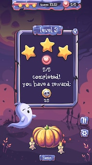 Уровень игрового поля вектор вечеринки в честь хэллоуина завершен с призрак, тыква, свеча, звезда