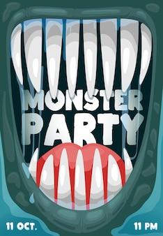 Плакат вектора вечеринки в честь хэллоуина со страшным ртом монстра и рамкой зубов вампира. хэллоуин ужасная ночь праздник трюк или угощение дракула или инопланетный монстр с острыми клыками, дизайн флаера с мультяшным приглашением