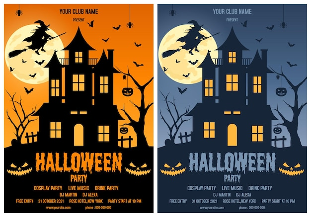 Halloween party vector template illustration on isolated background