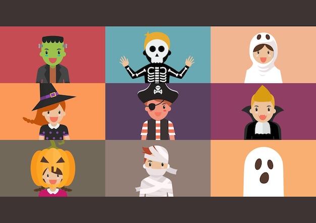 ハロウィーンパーティーのビデオ会議。ノートパソコンの画面にホラー衣装を着た子供たちがビデオ会議を行っています。ベクトルイラスト