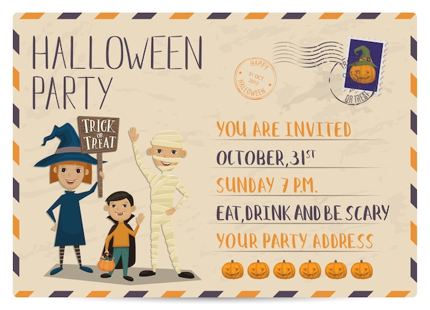 Halloween party vintage postcard invitation
