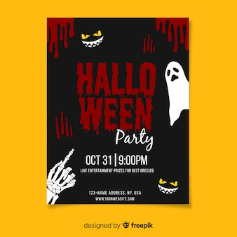 Halloween party with blood poster template
