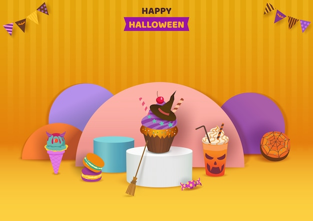 オレンジ色の背景にデザートディスプレイとハロウィーンパーティー