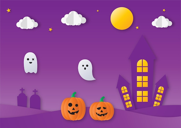Halloween party with ghosts and pumpkin paper art style on purple background.