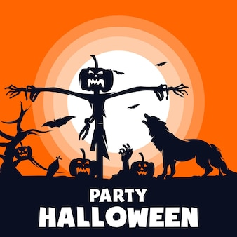 Halloween party with horror, vector halloween background