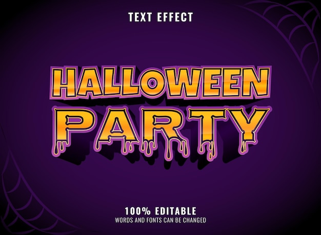 Halloween party with melted effect editable text effect