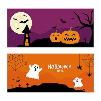 Вечеринка в честь хэллоуина с тыквами и дизайном мультфильмов призраков, тема хэллоуина.