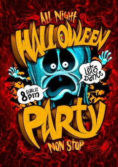 Halloween party with screaming ghost and speech bubbles