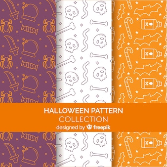 Halloween pattern collection in flat design