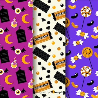 Halloween pattern collection flat design