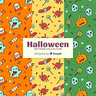 Halloween pattern collection in hand drawn style