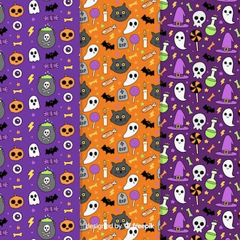 Halloween pattern collection hand drawn