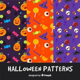 평면 디자인의 할로윈 패턴 컬렉션
