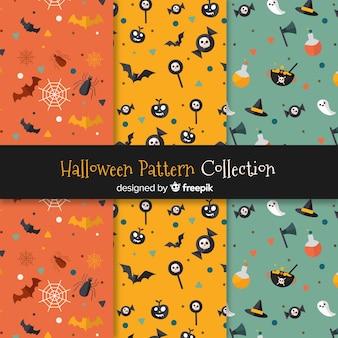 フラットデザインのハロウィーンのパターンコレクション
