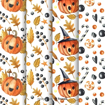 Halloween pattern collection in watercolor style
