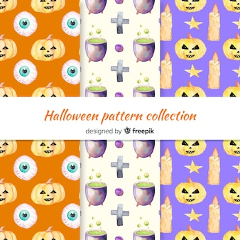 Halloween pattern collection in watercolor