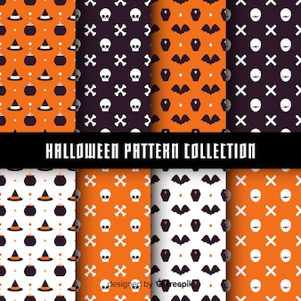 Halloween pattern collection with flat design
