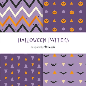 Halloween pattern collection with geometric design