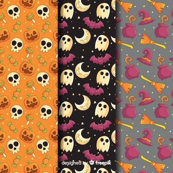 Halloween pattern collection with skulls and ghosts