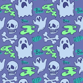 Halloween pattern. ghost and skull on a blue background.