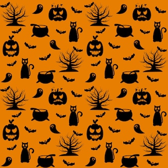 Halloween pattern. on an orange background, black silhouettes of a pumpkin, a cat, a tree, a cauldron and a ghost