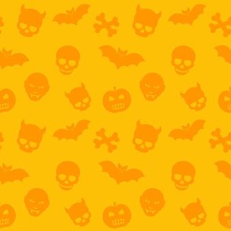 Halloween pattern, orange seamless background with skulls, bones, bats and vampires, vector illustration