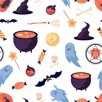 Halloween pattern. pumpkin bat witch broomstick and hat. party elements print, trick or threat