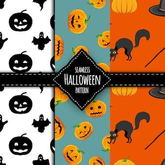 Halloween pattern set. cartoon style. vector illustration.