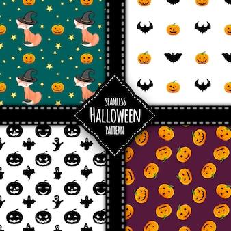 Набор шаблонов хэллоуина. мультяшный стиль. векторная иллюстрация.
