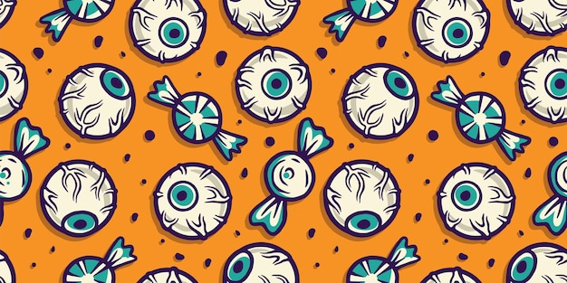 Halloween pattern wallpaper with eyes and sweets