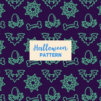 Halloween pattern with a bat, bone, spider and web.