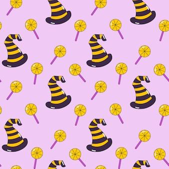 사탕과 마녀 모자 할로윈 패턴