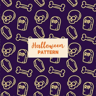 Halloween pattern with a coffin, crock, gravestone.