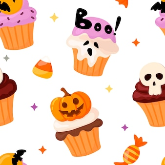 Halloween pattern with cupcakes and sweets in cartoon style
