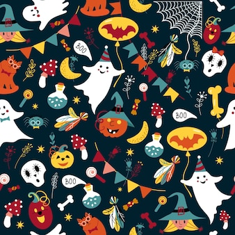 모자에 재미 해골 마녀와 원활한 귀여운 유령 호박 할로윈 패턴