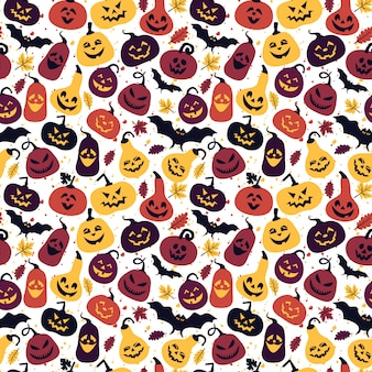 Halloween pattern with different pumpkins