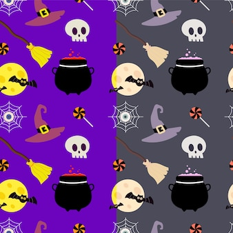 Halloween pattern with moon and skull